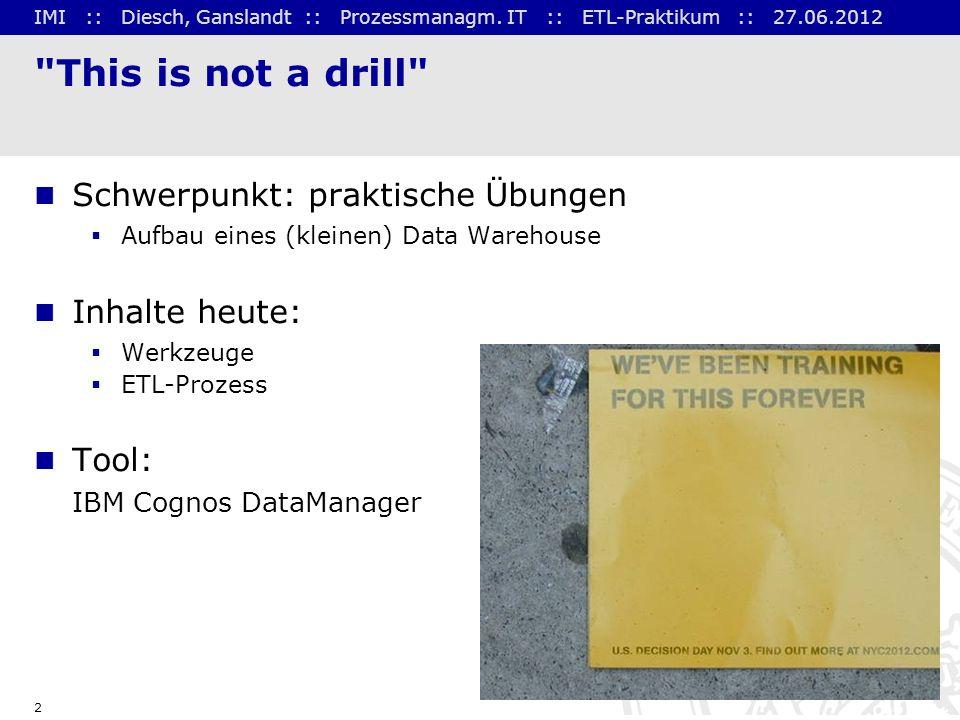 This is not a drill Schwerpunkt: praktische Übungen Inhalte heute: