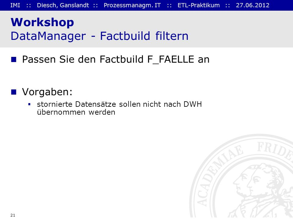Workshop DataManager - Factbuild filtern