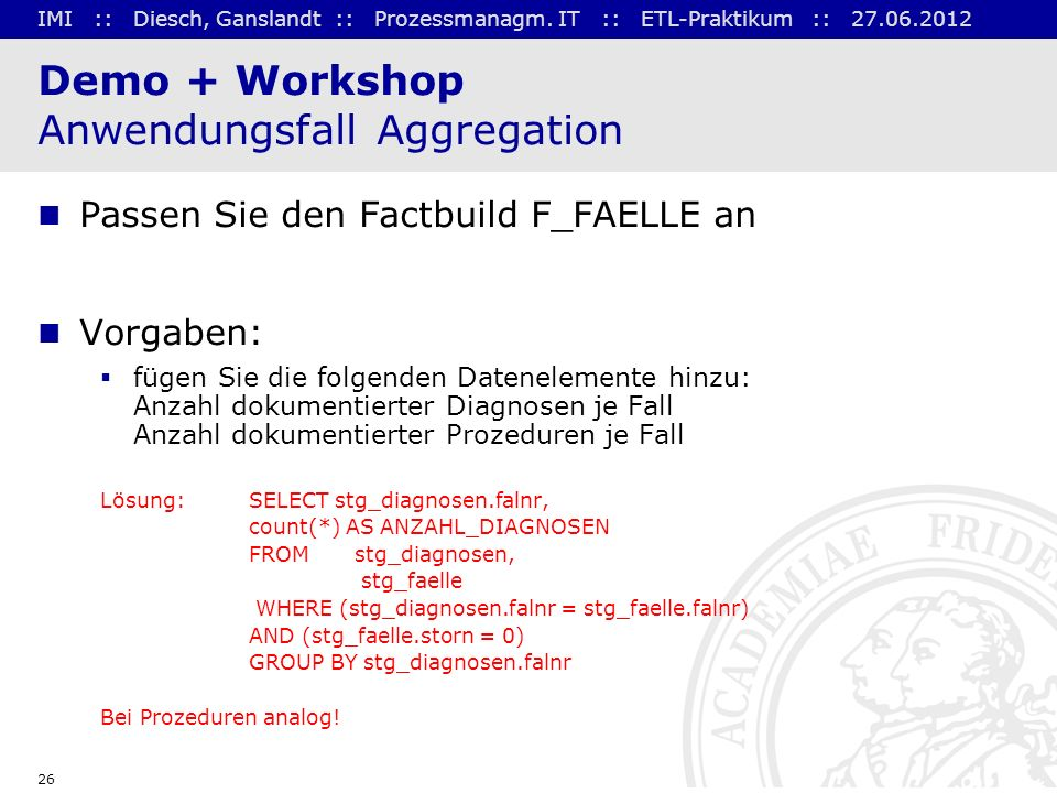 Demo + Workshop Anwendungsfall Aggregation