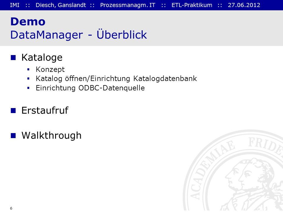 Demo DataManager - Überblick