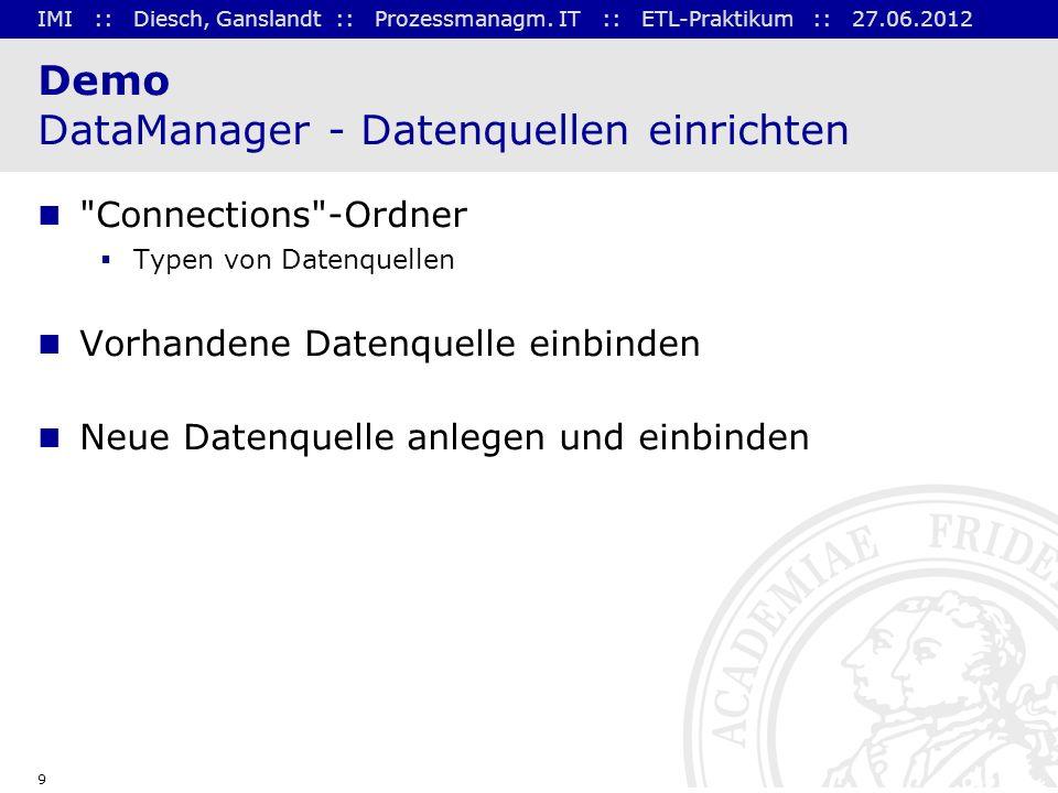 Demo DataManager - Datenquellen einrichten
