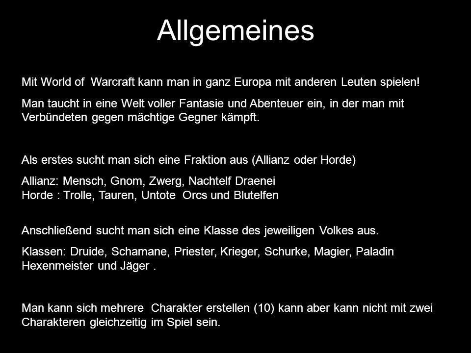 Allgemeines Mit World of Warcraft kann man in ganz Europa mit anderen Leuten spielen!