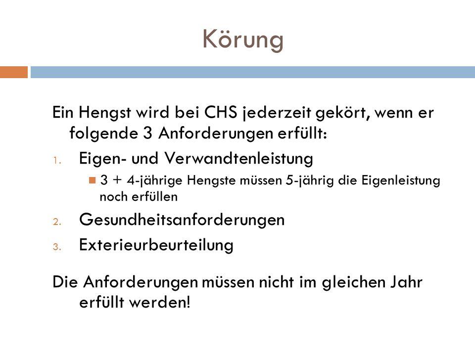 Körung Ein Hengst wird bei CHS jederzeit gekört, wenn er folgende 3 Anforderungen erfüllt: Eigen- und Verwandtenleistung.