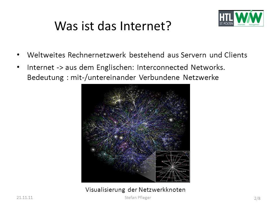 Was ist das Internet Weltweites Rechnernetzwerk bestehend aus Servern und Clients.