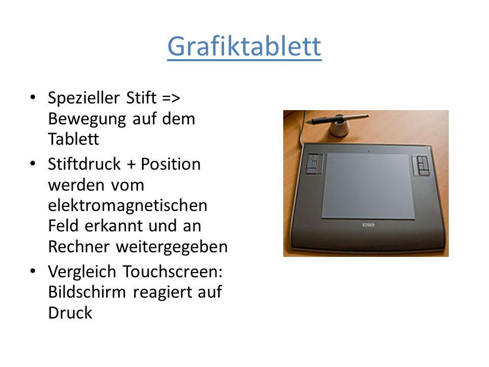 Grafiktablett Spezieller Stift => Bewegung auf dem Tablett