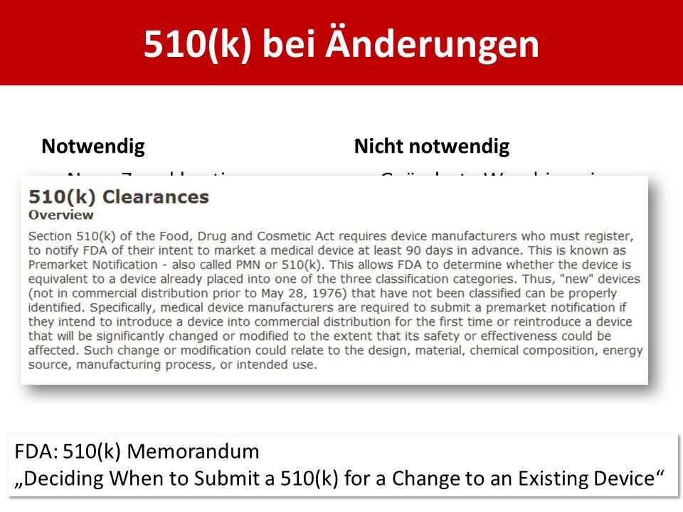 510(k) bei Änderungen Notwendig Nicht notwendig Neue Zweckbestimmung