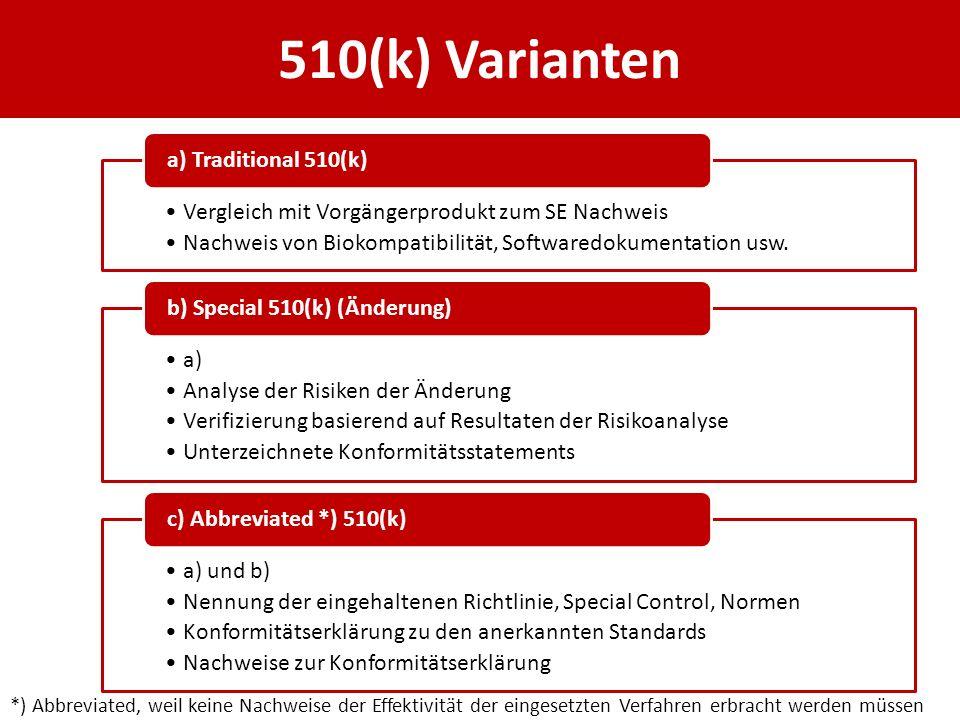 510(k) Varianten Vergleich mit Vorgängerprodukt zum SE Nachweis