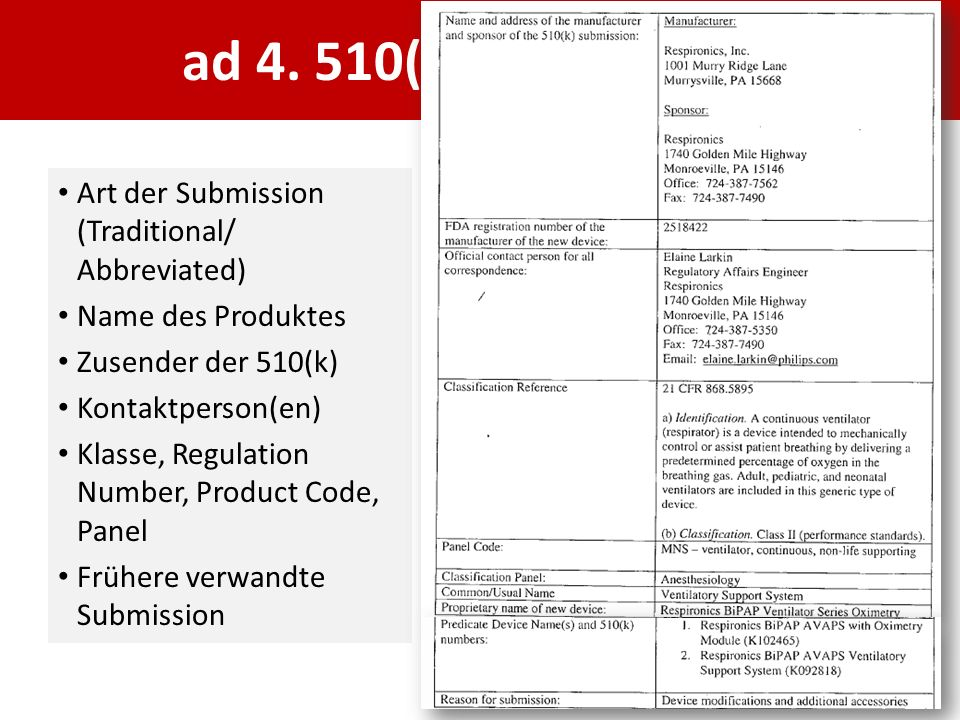 ad 4. 510(k) Cover Letter Art der Submission (Traditional/ Abbreviated) Name des Produktes. Zusender der 510(k)