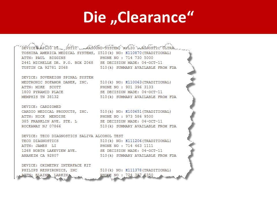 "Die ""Clearance"