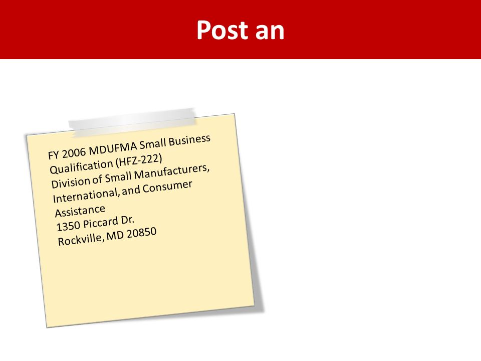 Post an FY 2006 MDUFMA Small Business Qualification (HFZ-222)