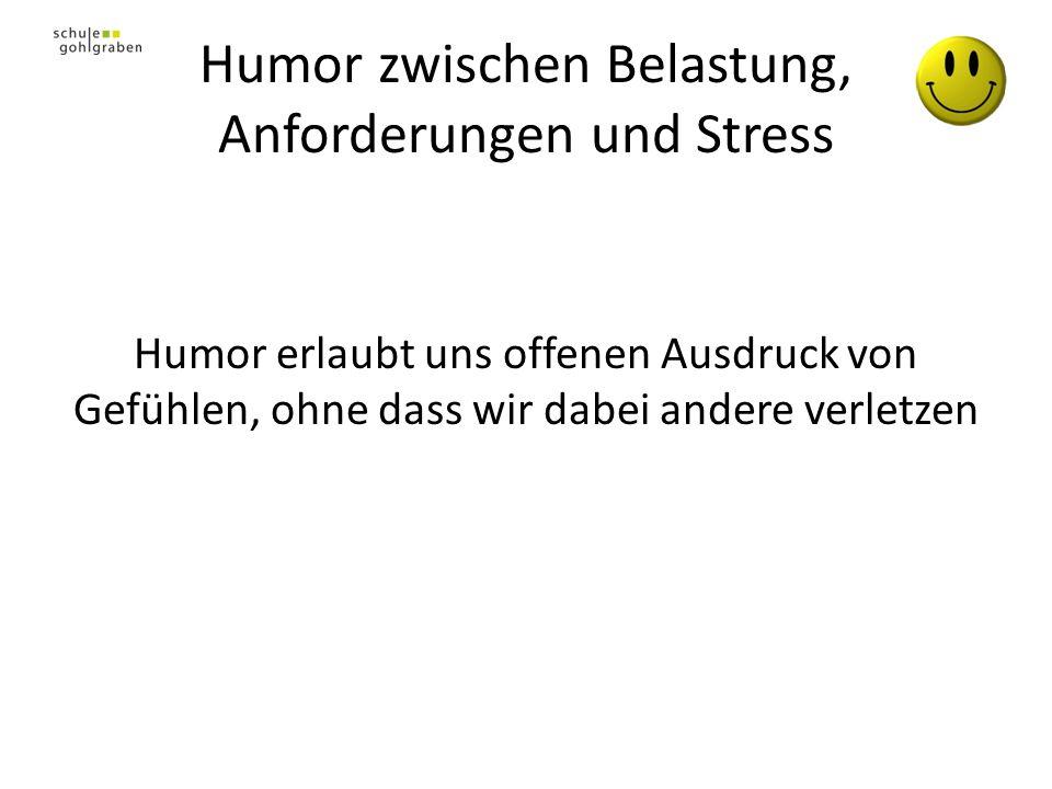 Humor zwischen Belastung, Anforderungen und Stress