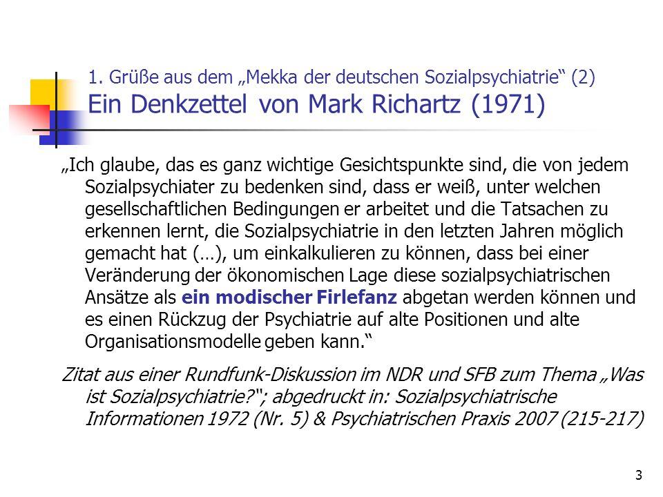 """1. Grüße aus dem """"Mekka der deutschen Sozialpsychiatrie (2) Ein Denkzettel von Mark Richartz (1971)"""