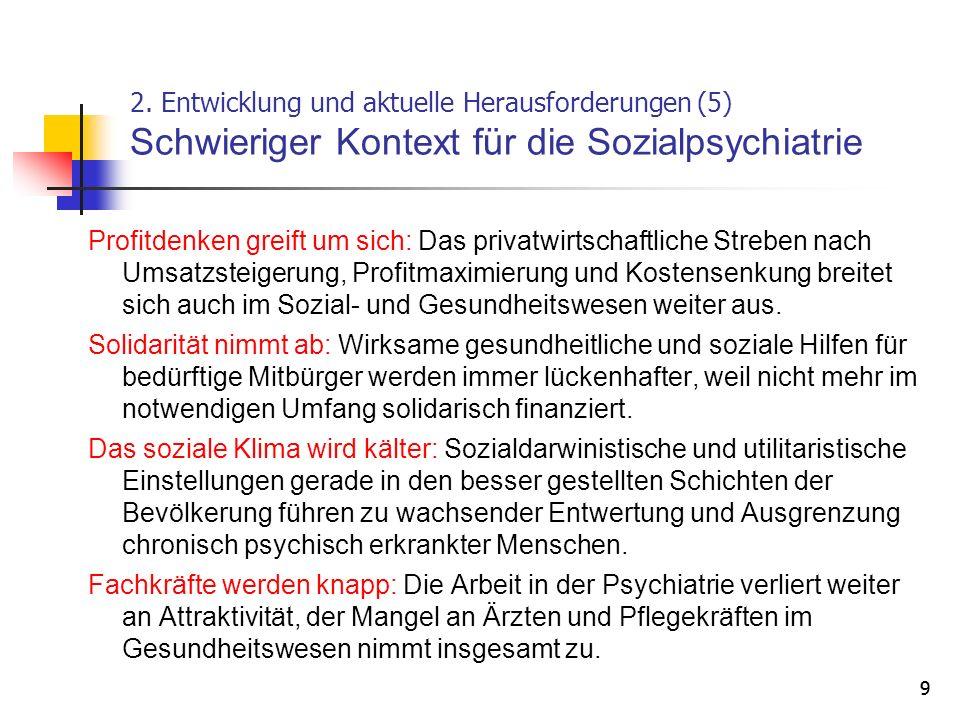 2. Entwicklung und aktuelle Herausforderungen (5) Schwieriger Kontext für die Sozialpsychiatrie