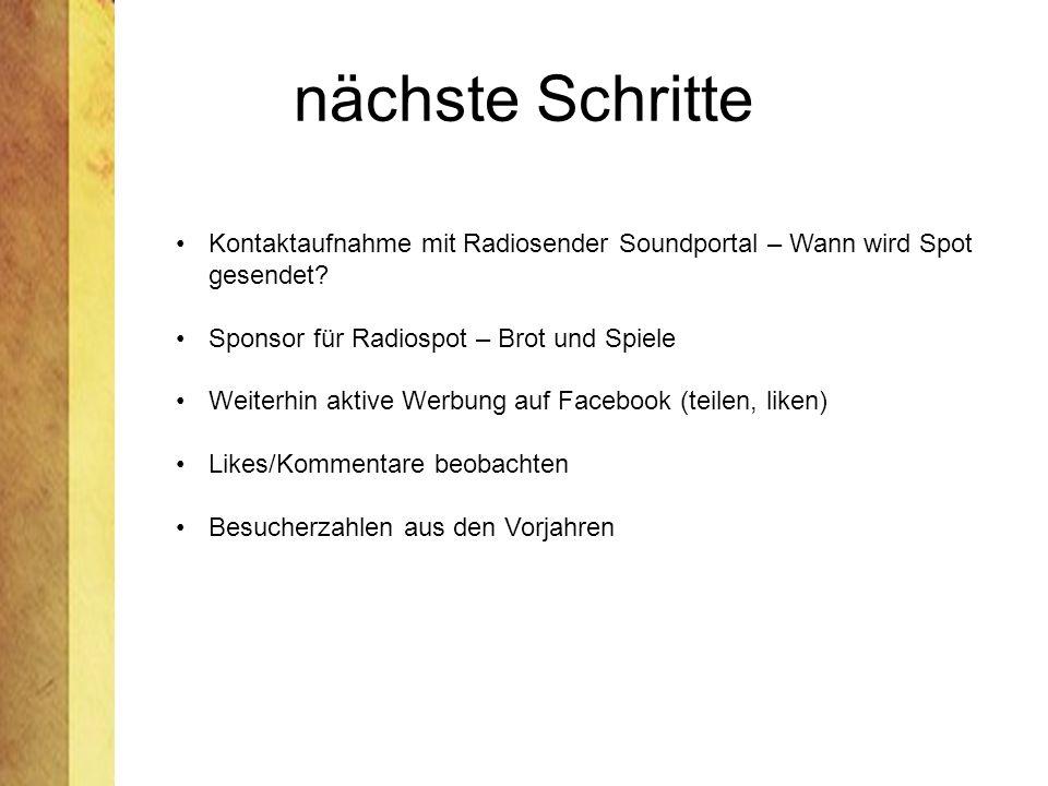 nächste Schritte Kontaktaufnahme mit Radiosender Soundportal – Wann wird Spot gesendet Sponsor für Radiospot – Brot und Spiele.