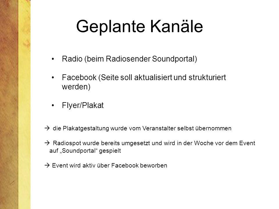 Geplante Kanäle Radio (beim Radiosender Soundportal)