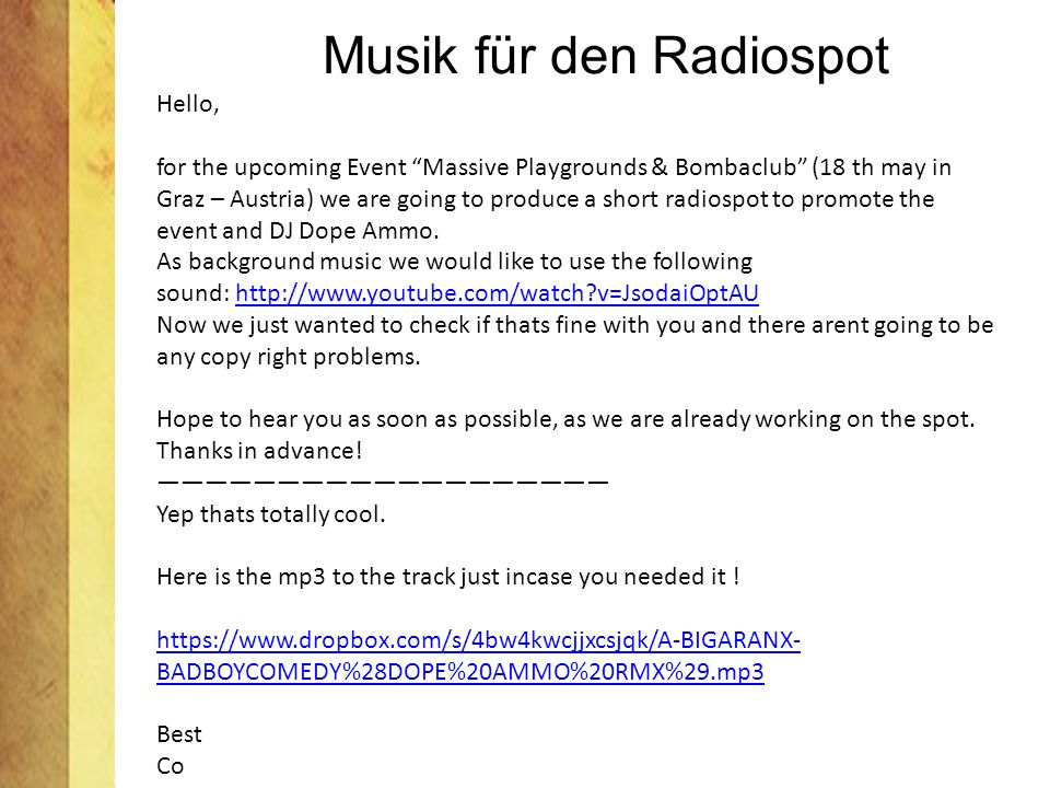 Musik für den Radiospot