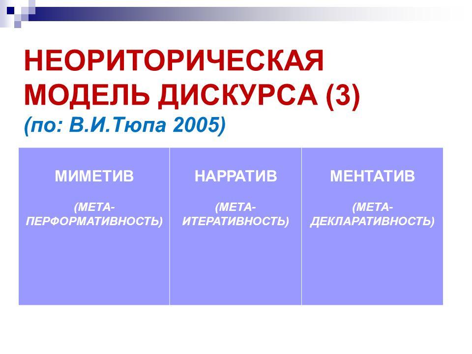 НЕОРИТОРИЧЕСКАЯ МОДЕЛЬ ДИСКУРСА (3) (по: В.И.Тюпа 2005)