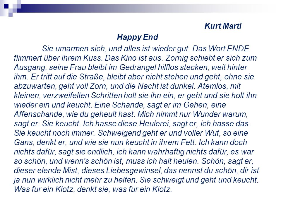 Kurt Marti Happy End.