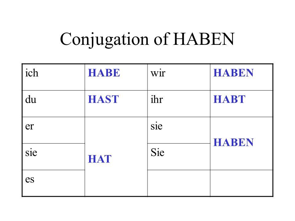 Conjugation of HABEN ich HABE wir HABEN du HAST ihr HABT er HAT sie