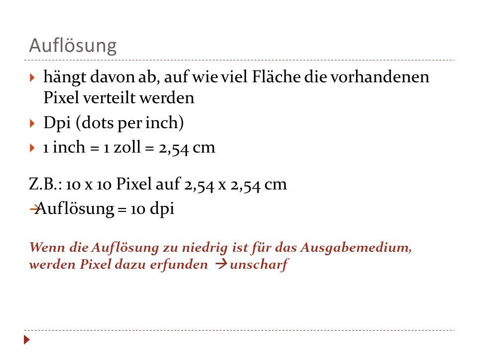 Auflösung hängt davon ab, auf wie viel Fläche die vorhandenen Pixel verteilt werden. Dpi (dots per inch)