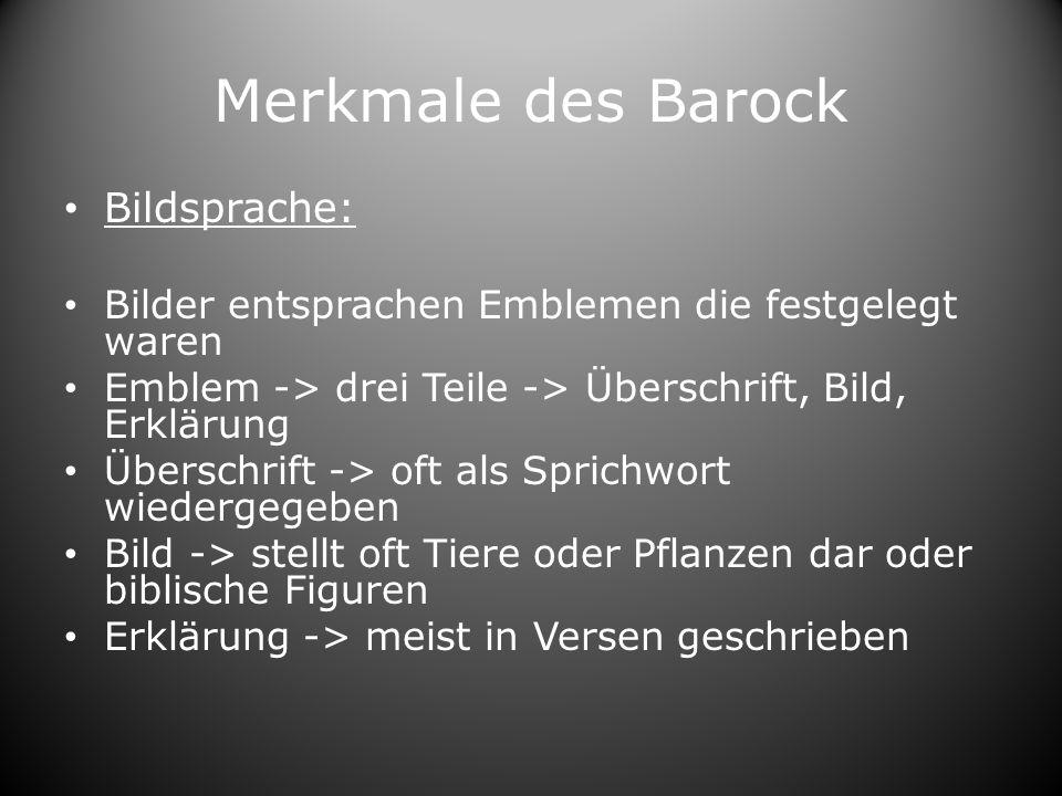Merkmale des Barock Bildsprache: