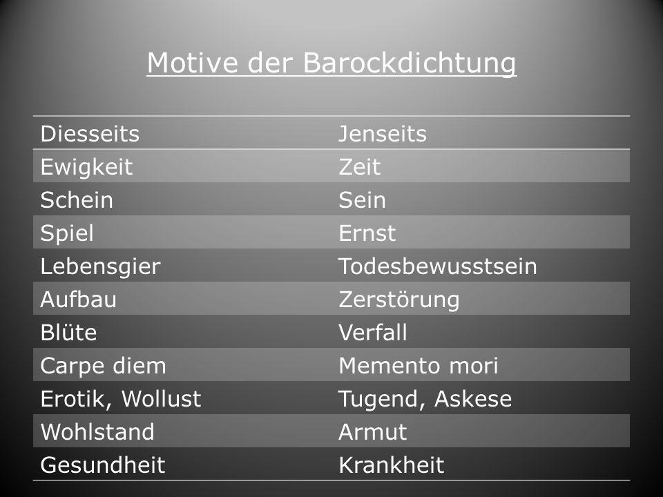 Motive der Barockdichtung