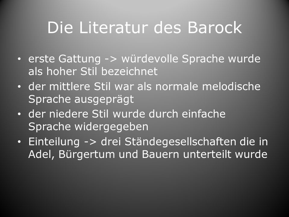 Die Literatur des Barock