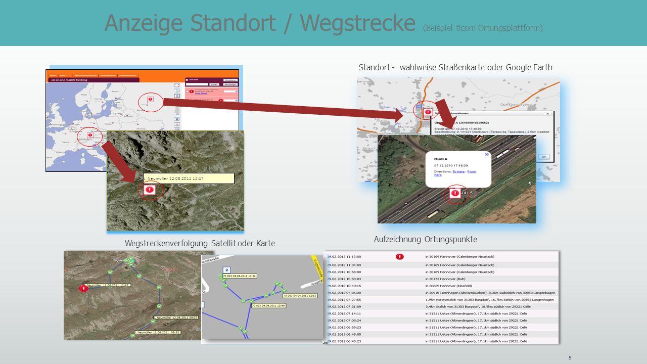 Anzeige Standort / Wegstrecke (Beispiel ticom Ortungsplattform)