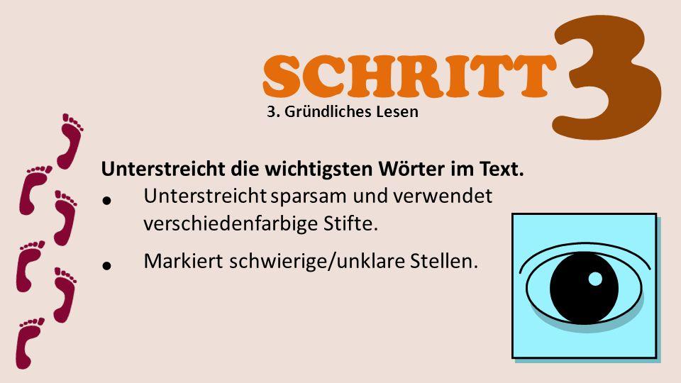 3 SCHRITT Unterstreicht die wichtigsten Wörter im Text.