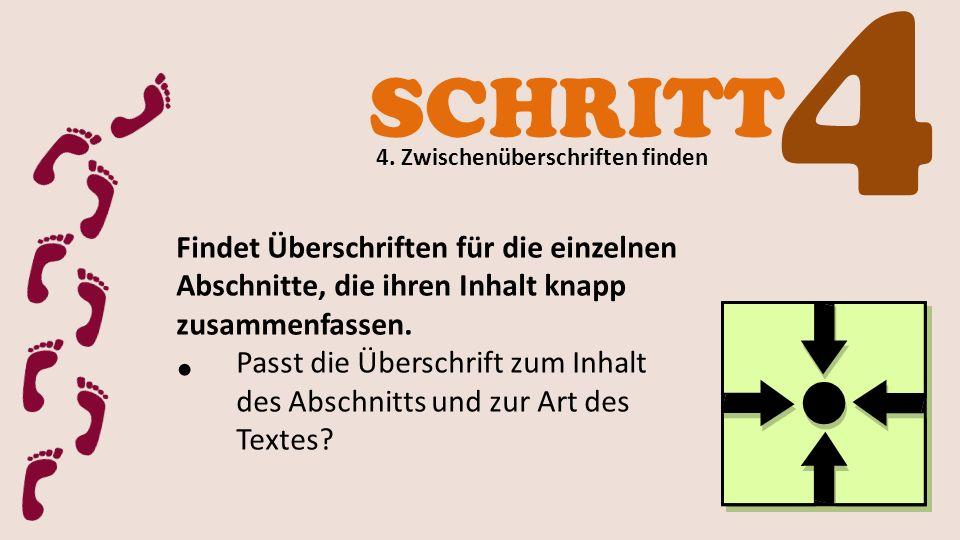 4 SCHRITT. 4. Zwischenüberschriften finden. Findet Überschriften für die einzelnen Abschnitte, die ihren Inhalt knapp zusammenfassen.