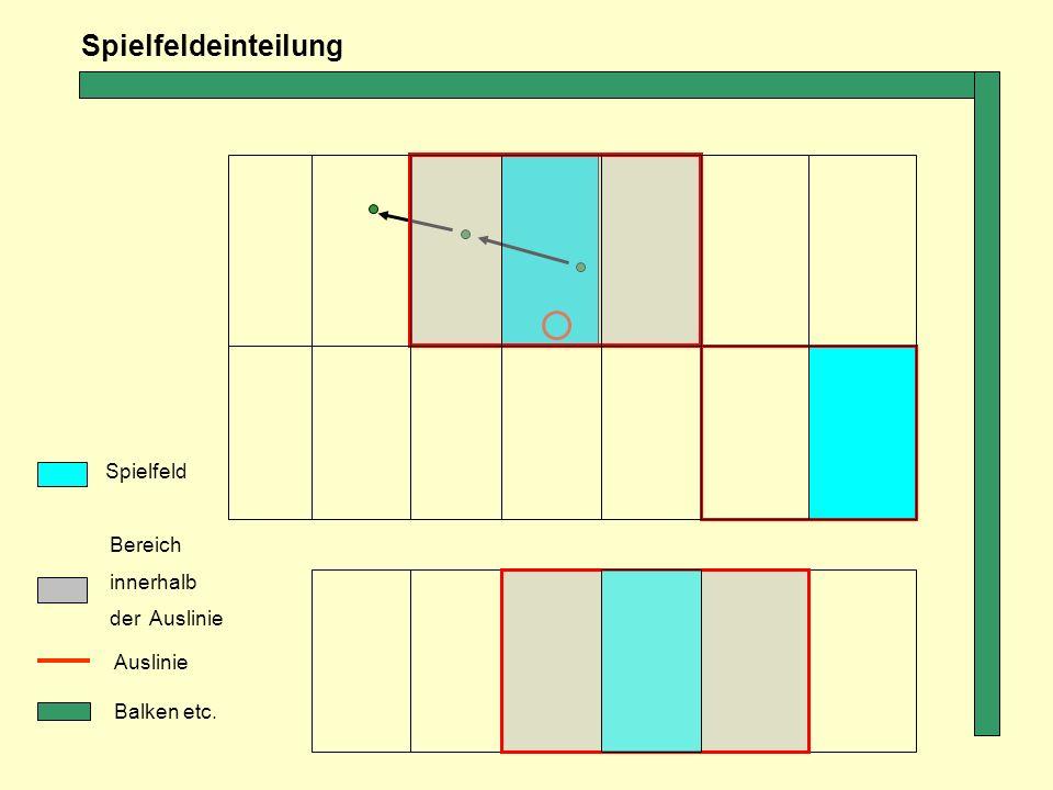 Spielfeldeinteilung Spielfeld Bereich innerhalb der Auslinie Auslinie
