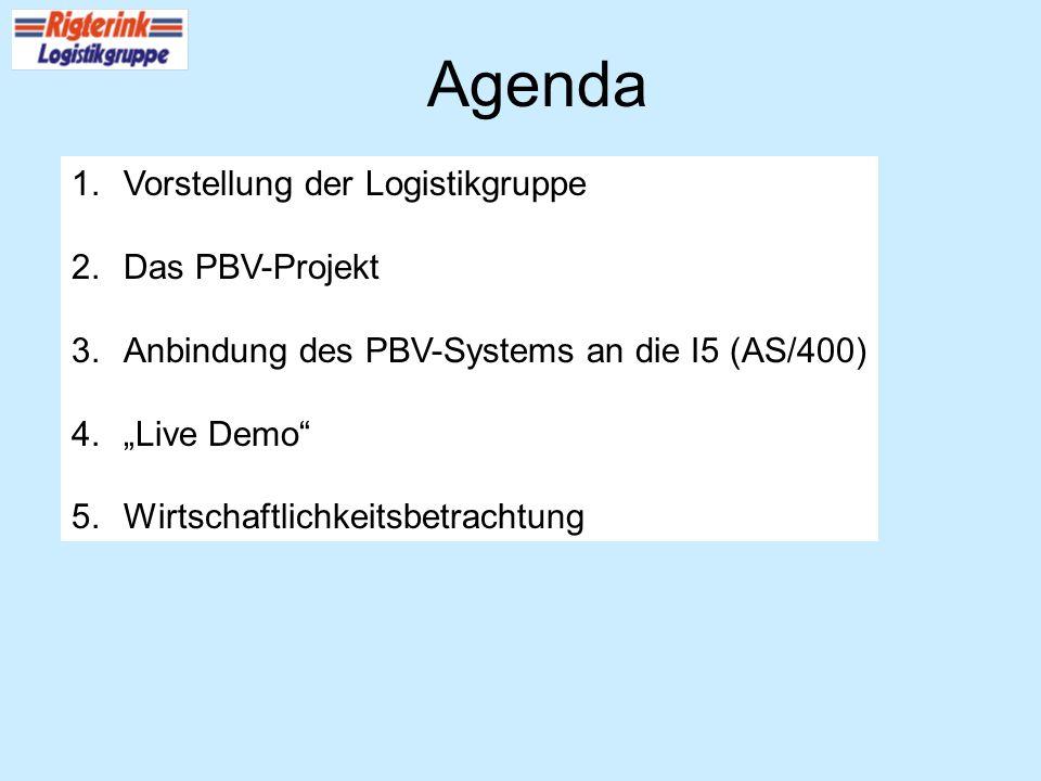 Agenda Vorstellung der Logistikgruppe Das PBV-Projekt