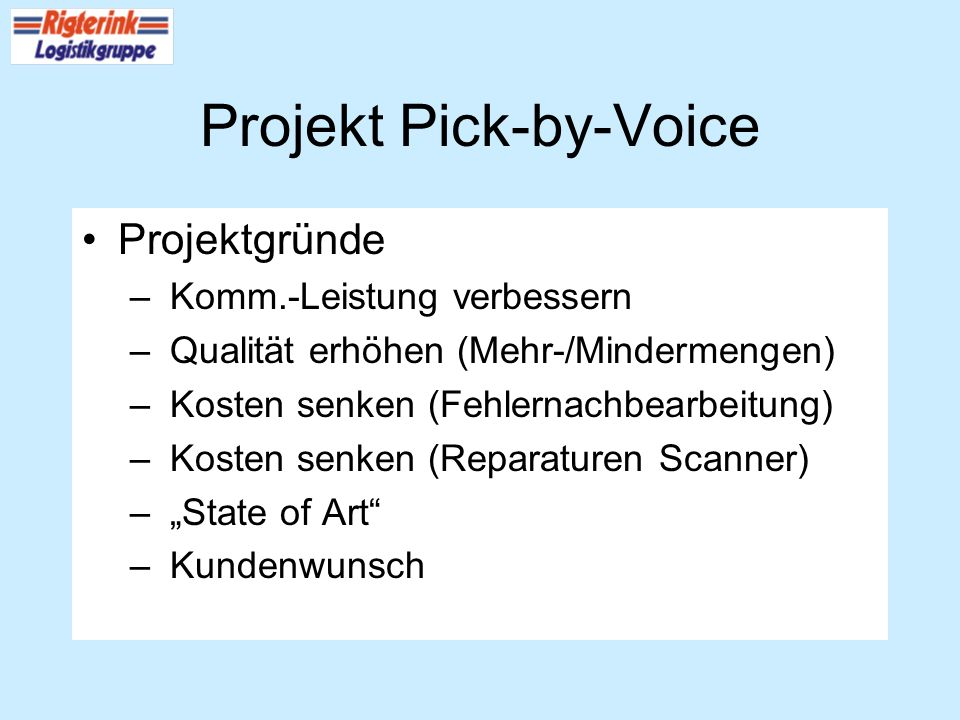 Projekt Pick-by-Voice