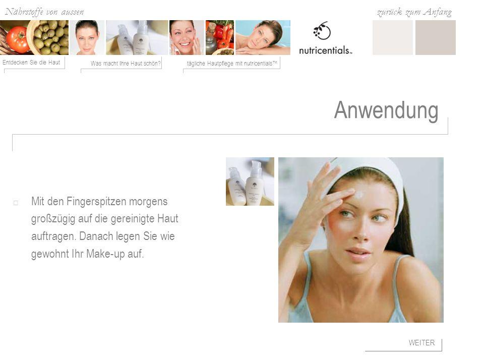 Anwendung Mit den Fingerspitzen morgens großzügig auf die gereinigte Haut auftragen. Danach legen Sie wie gewohnt Ihr Make-up auf.