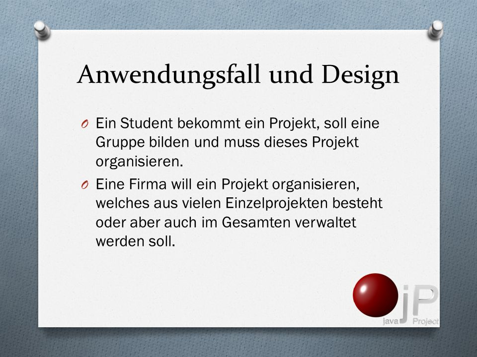 Anwendungsfall und Design
