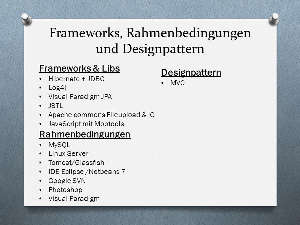 Frameworks, Rahmenbedingungen und Designpattern