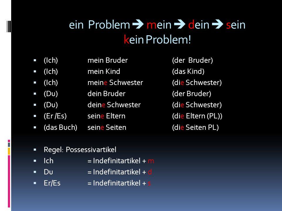 ein Problem  mein  dein  sein kein Problem!