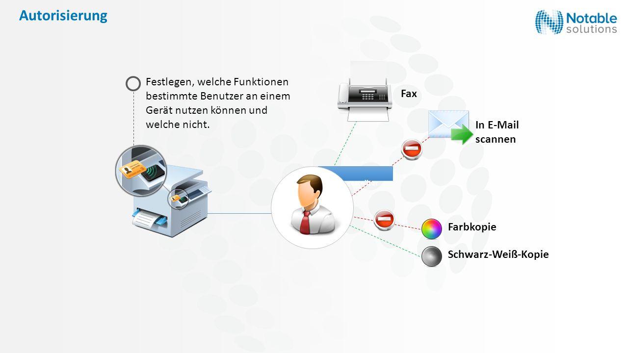 Autorisierung Fax. Festlegen, welche Funktionen bestimmte Benutzer an einem Gerät nutzen können und welche nicht.