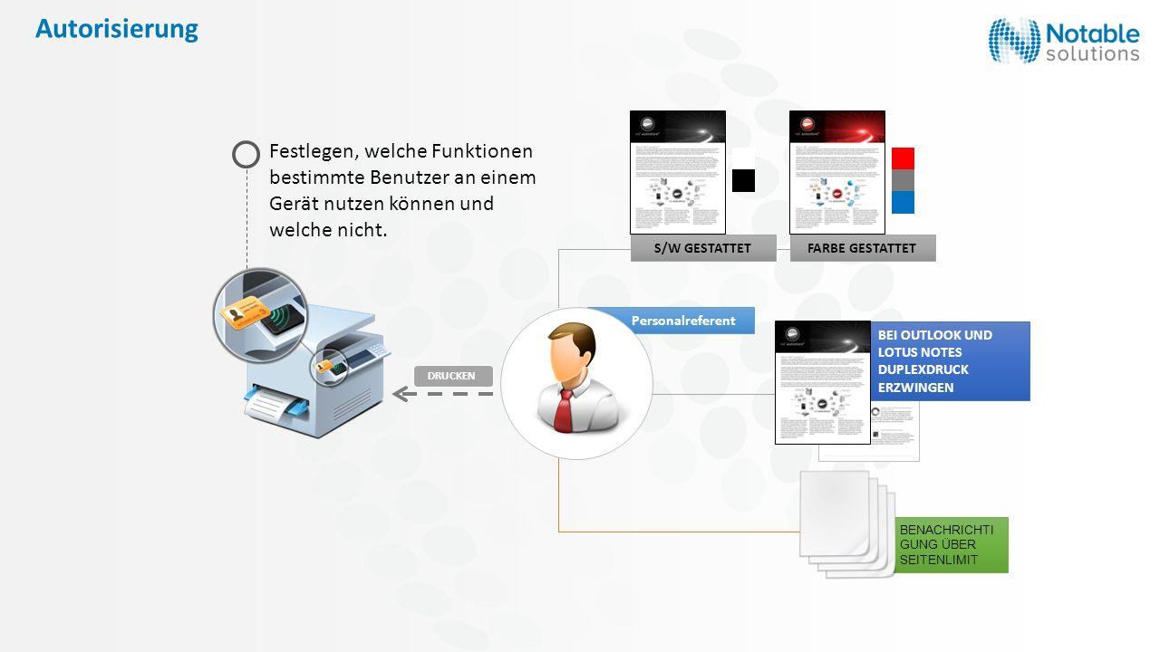 Autorisierung S/W GESTATTET. FARBE GESTATTET. Festlegen, welche Funktionen bestimmte Benutzer an einem Gerät nutzen können und welche nicht.