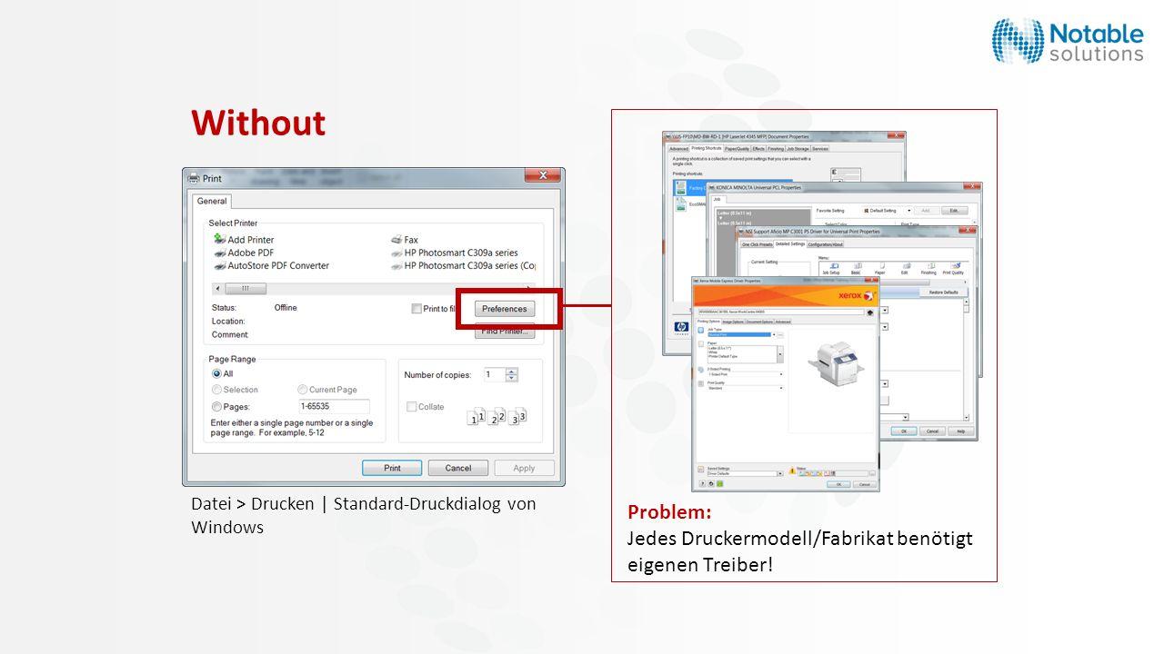 Without Problem: Jedes Druckermodell/Fabrikat benötigt eigenen Treiber.