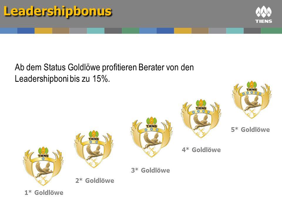 Leadershipbonus Ab dem Status Goldlöwe profitieren Berater von den Leadershipboni bis zu 15%. 5* Goldlöwe.