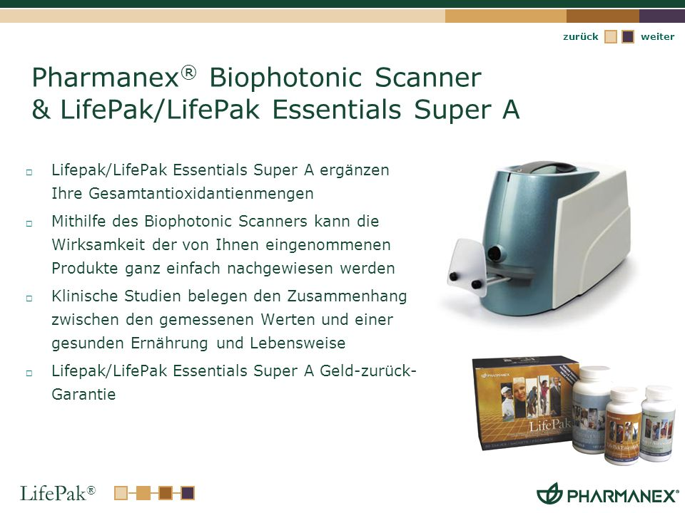 Pharmanex® Biophotonic Scanner & LifePak/LifePak Essentials Super A