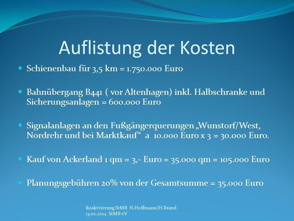 Auflistung der Kosten Schienenbau für 3,5 km = 1.750.000 Euro