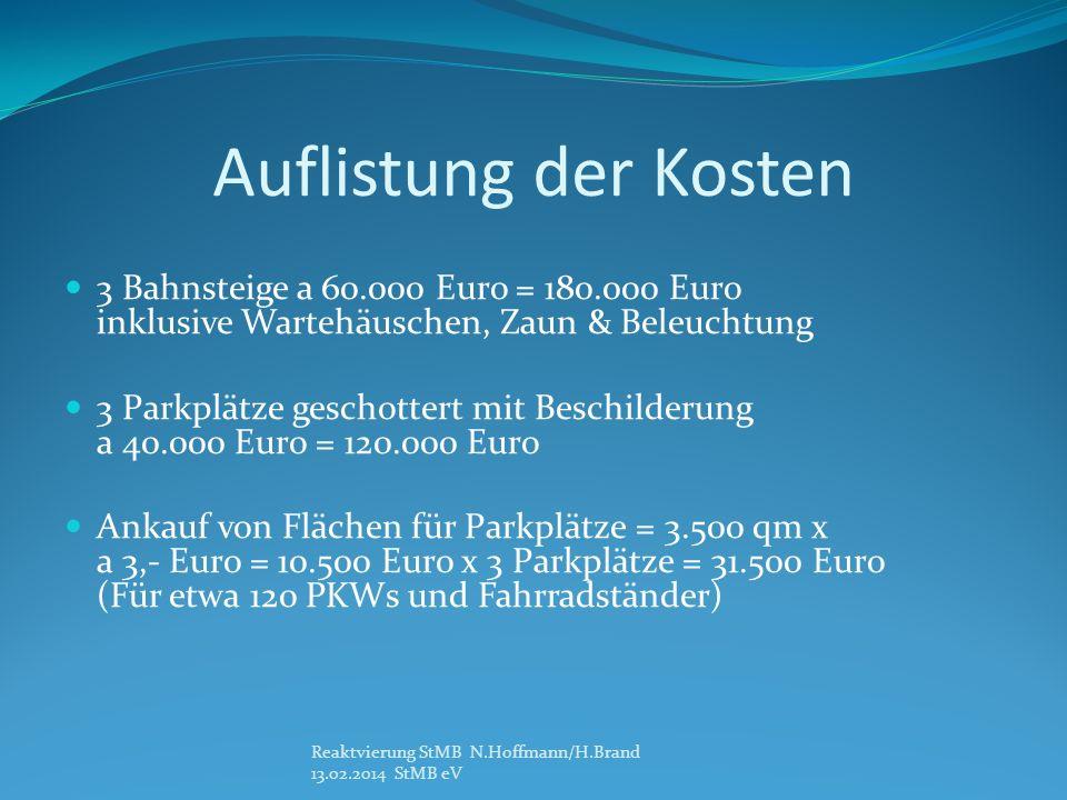 Auflistung der Kosten 3 Bahnsteige a 60.000 Euro = 180.000 Euro inklusive Wartehäuschen, Zaun & Beleuchtung.