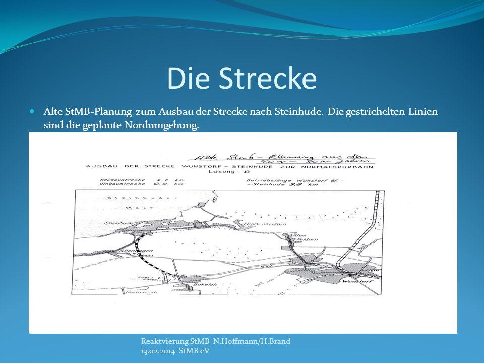 Die Strecke Alte StMB-Planung zum Ausbau der Strecke nach Steinhude. Die gestrichelten Linien sind die geplante Nordumgehung.