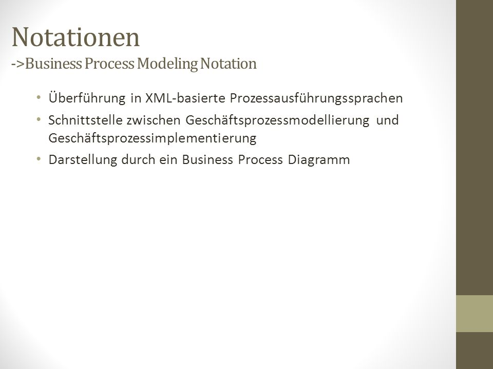 Notationen ->Business Process Modeling Notation