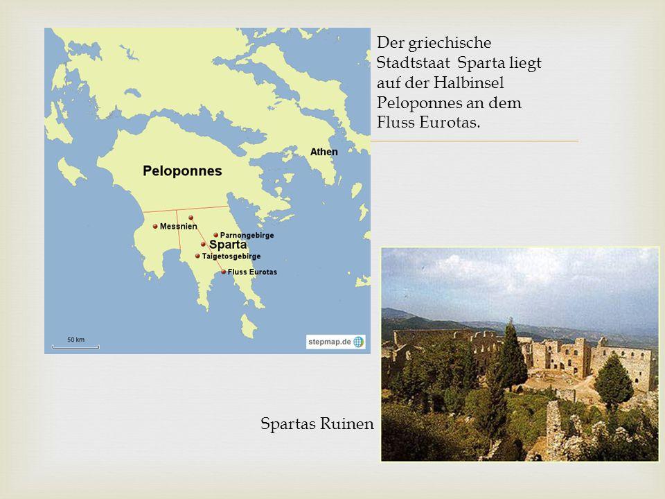Der griechische Stadtstaat Sparta liegt auf der Halbinsel Peloponnes an dem Fluss Eurotas.