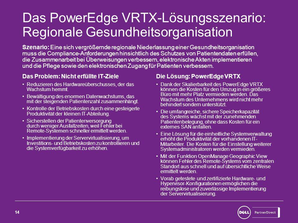 Das PowerEdge VRTX-Lösungsszenario: Regionale Gesundheitsorganisation
