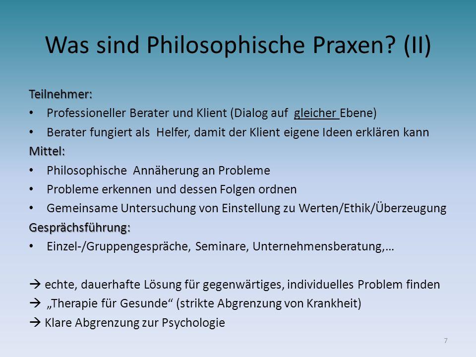 Was sind Philosophische Praxen (II)