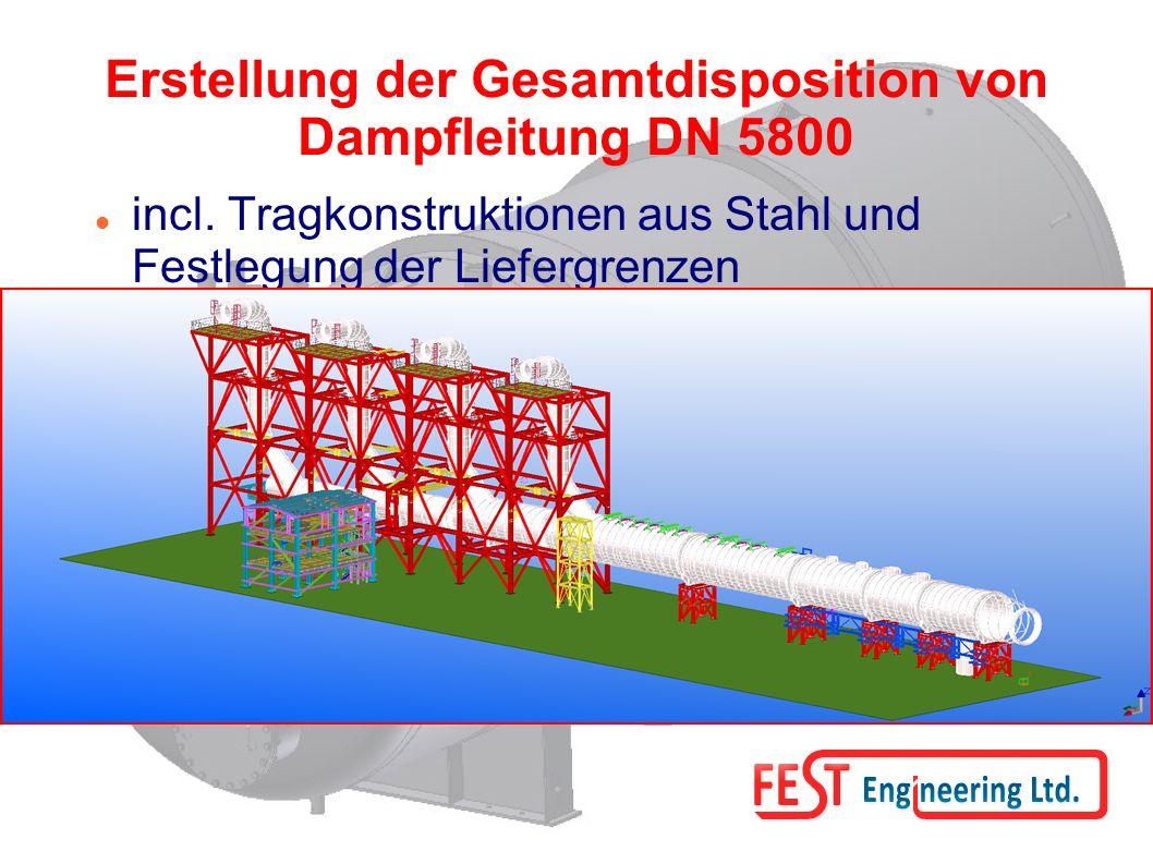 Erstellung der Gesamtdisposition von Dampfleitung DN 5800